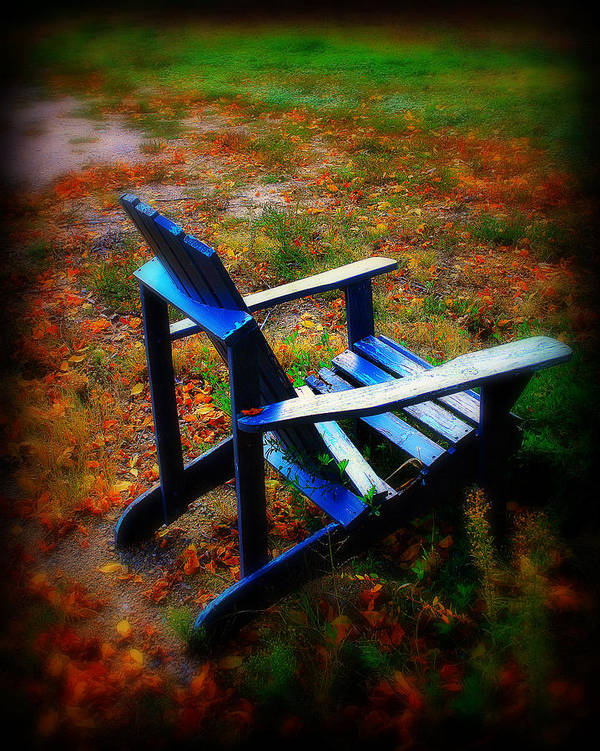 Chair Art Print featuring the photograph Blue Chair by Perry Webster