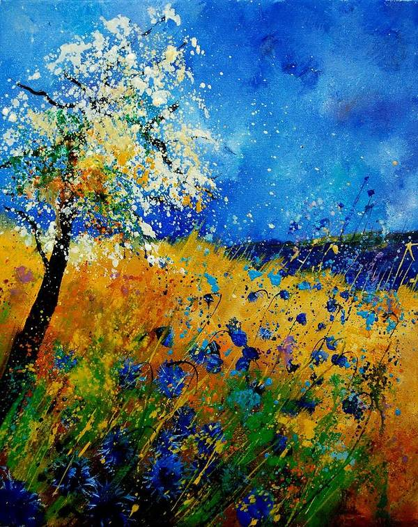Poppies Art Print featuring the painting Blue Cornflowers 450108 by Pol Ledent