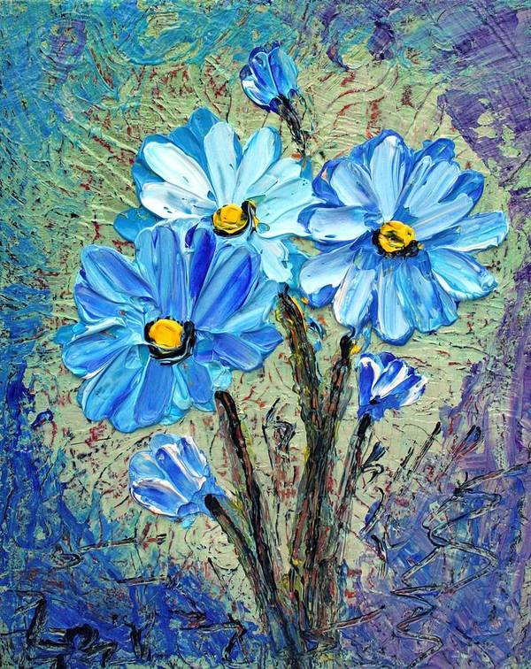 Flowers Art Print featuring the painting Blue Flowers by Luiza Vizoli