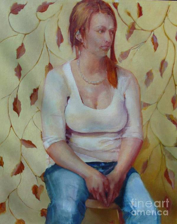 Contemporary Female Portrait Art Print featuring the painting Blue Jeans Girl       Copyrighted by Kathleen Hoekstra