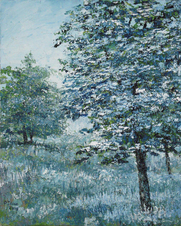 Tree Art Print featuring the painting Blue Trees by Paul Illian