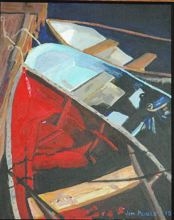 Boats At The Dock Art Print featuring the painting Boats At The Dock by Jim Peirce