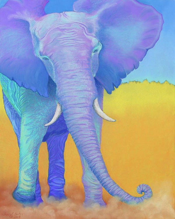 Elephant Art Print featuring the pastel Born Of Wisdom by Tracy L Teeter