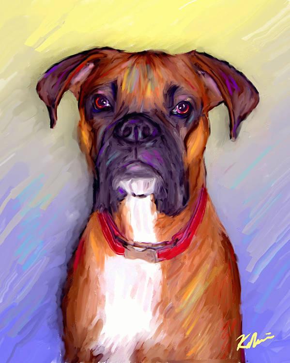 Boxer Art Print featuring the digital art Boxer Beauty by Karen Derrico