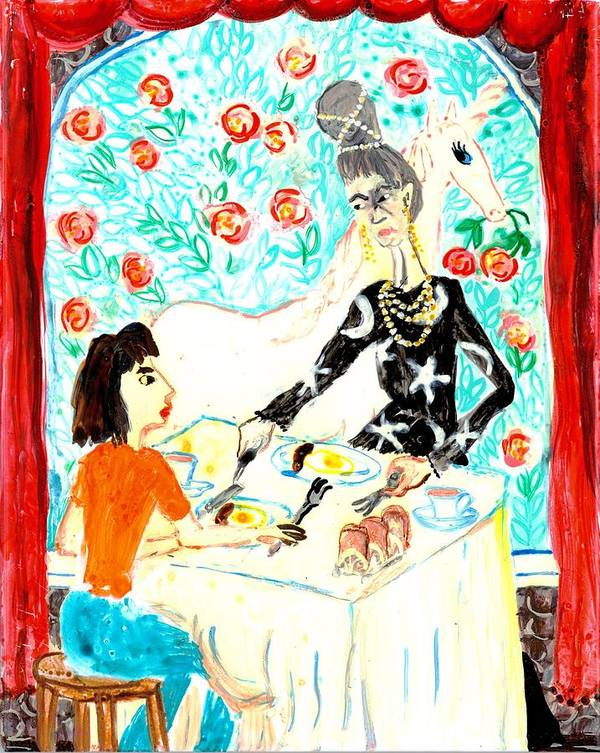 Sue Burgess Art Print featuring the painting Breakfast With A Witch by Sushila Burgess