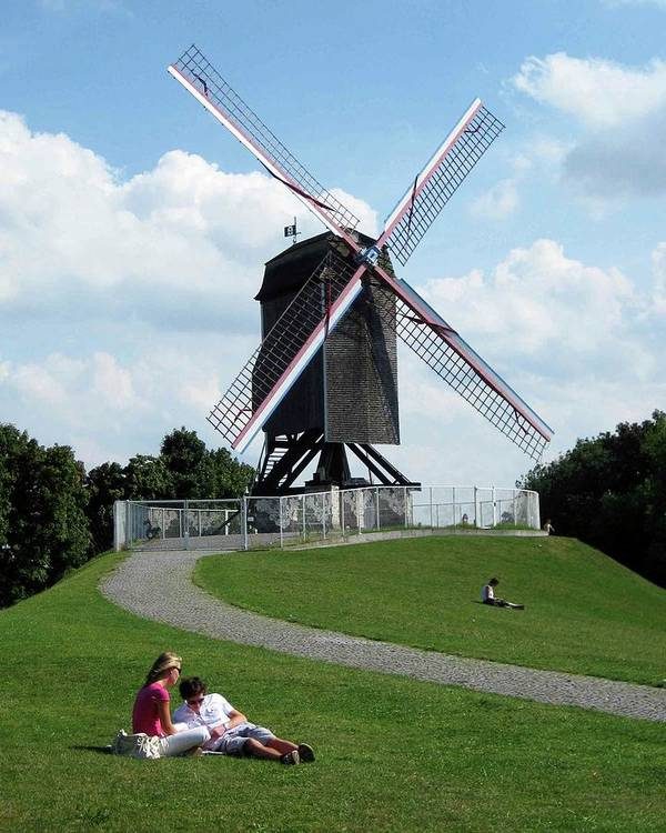 Bruges Art Print featuring the photograph Bruges Windmill by David L Griffin
