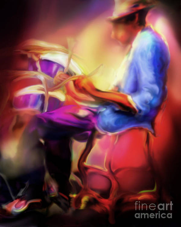 Jazz Art Art Print featuring the painting Brush Work by Mike Massengale