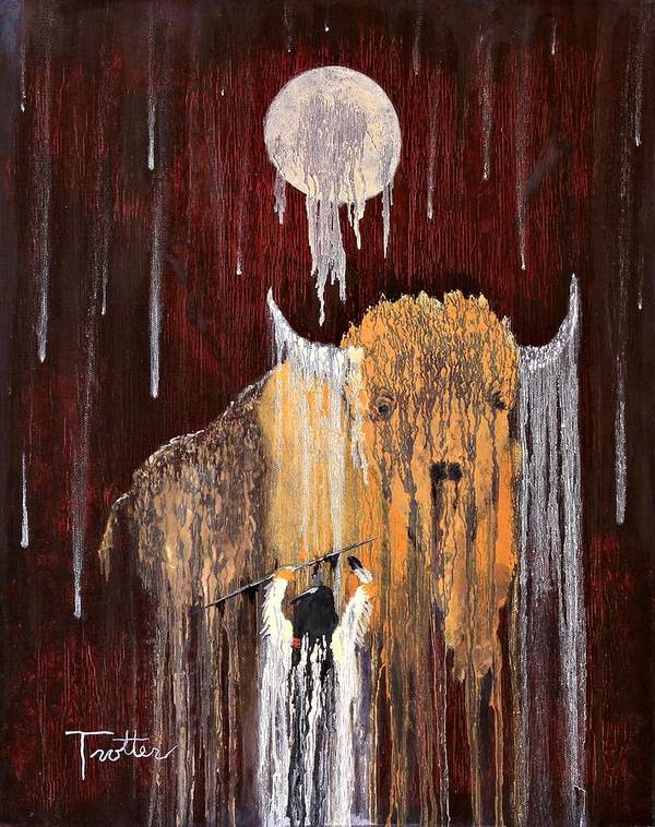Native Art Art Print featuring the painting Buffalo Spirit by Patrick Trotter