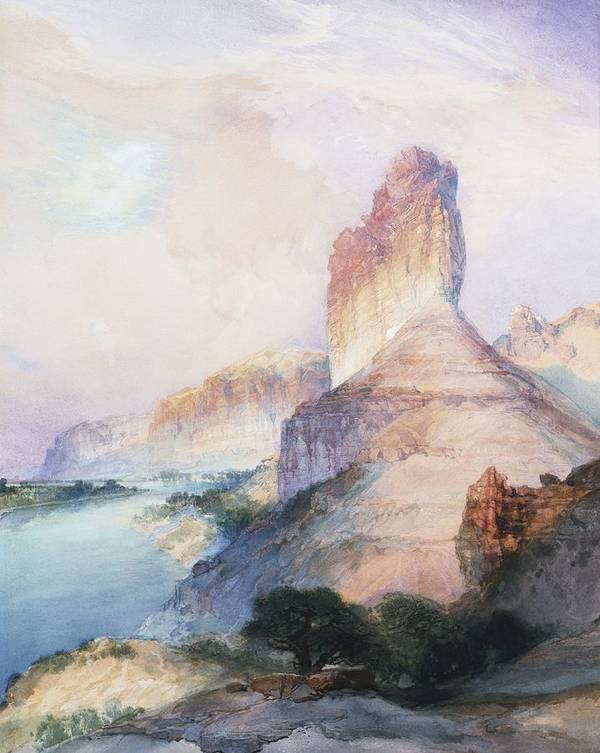 Thomas Moran Art Print featuring the painting Butte Green River Wyoming by Thomas Moran