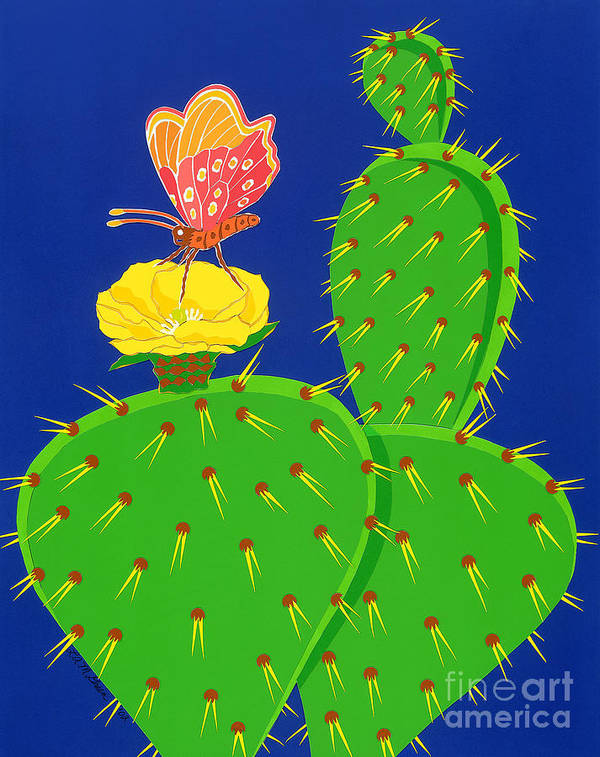 Nature Art Print featuring the drawing Cactus And Butterfly by Lucyna A M Green