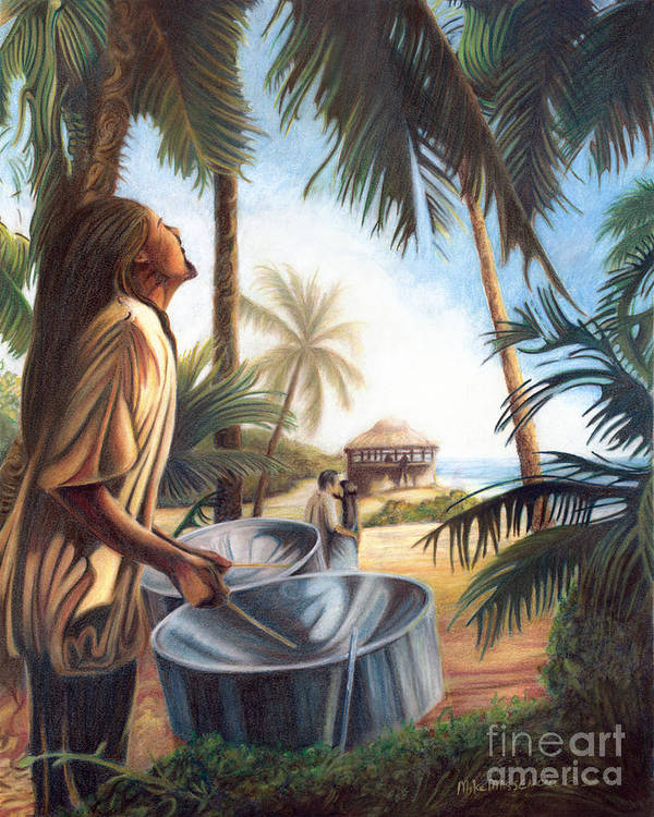 Tropical Art Print featuring the painting Call To Paradise by Mike Massengale