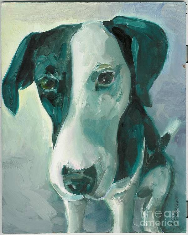 Dog Art Print featuring the painting Can I Help by Linda Vespasian