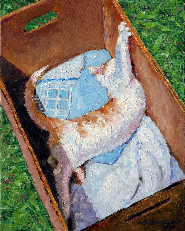 Kitten Art Print featuring the painting Cat In A Box by John Lautermilch