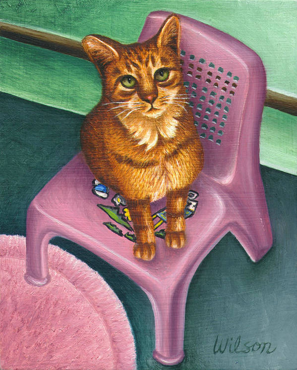 Orange Tabby Cat Art Print featuring the painting Cat Sitting On A Painted Chair by Carol Wilson