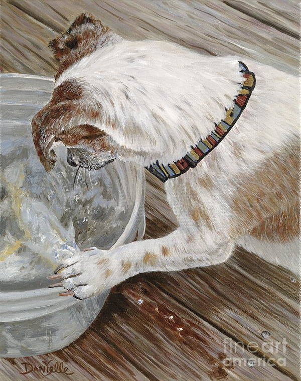 Pet Portrait Art Print featuring the painting Catch Of The Day by Danielle Perry