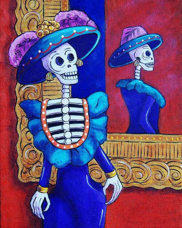 Dia De Los Muertos Art Print featuring the painting Catrina In The Mirror by Candy Mayer