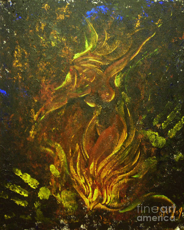 Fire Art Print featuring the painting Cerridwen Dances by Colleen Koziara