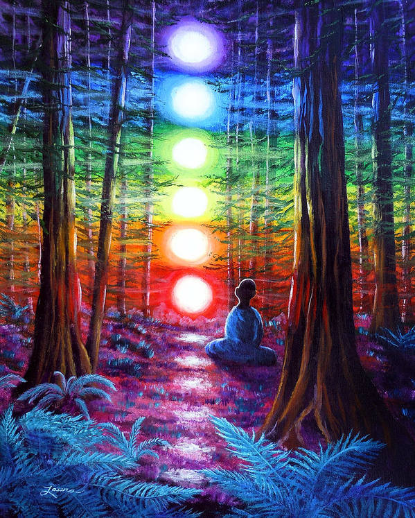 Zen Art Print featuring the painting Chakra Meditation In The Redwoods by Laura Iverson