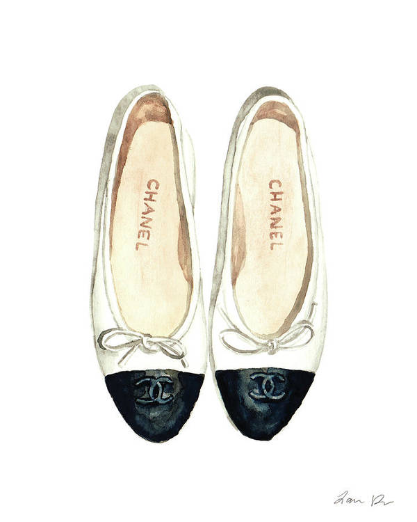 792fe113d46e Chanel Ballet Art Print featuring the painting Chanel Ballet Flats Classic  Watercolor Fashion Illustration Coco Quotes