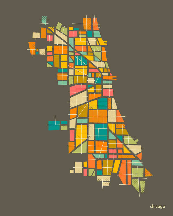 Chicago Map Art Print featuring the digital art Chicago by Jazzberry Blue