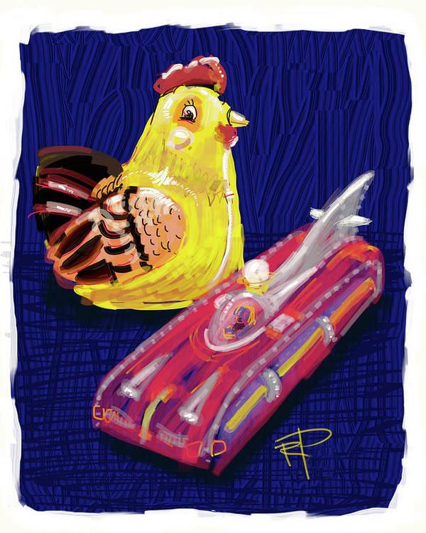 Chicken Art Print featuring the digital art Chicken And Rocket Car by Russell Pierce