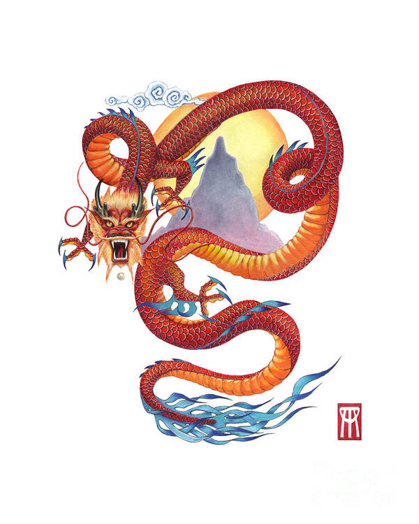 Dragon Art Print featuring the painting Chinese Red Dragon by Melissa A Benson