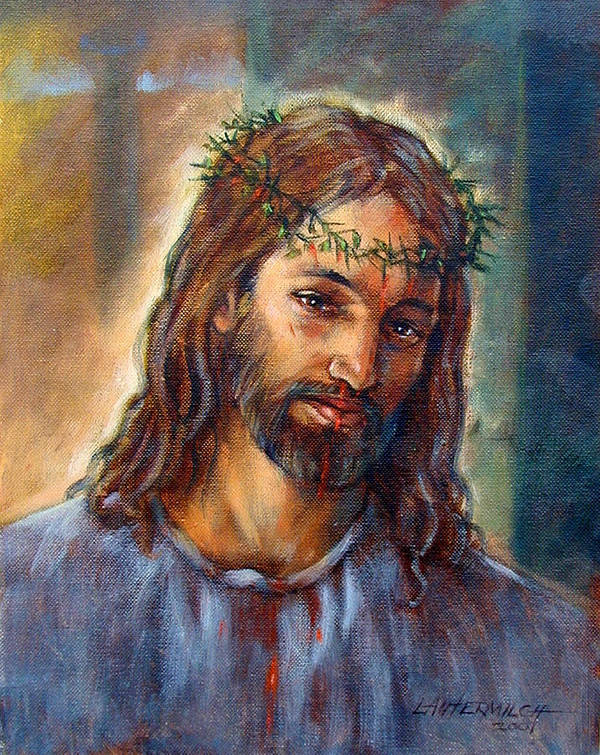Christ Art Print featuring the painting Christ With Thorns by John Lautermilch
