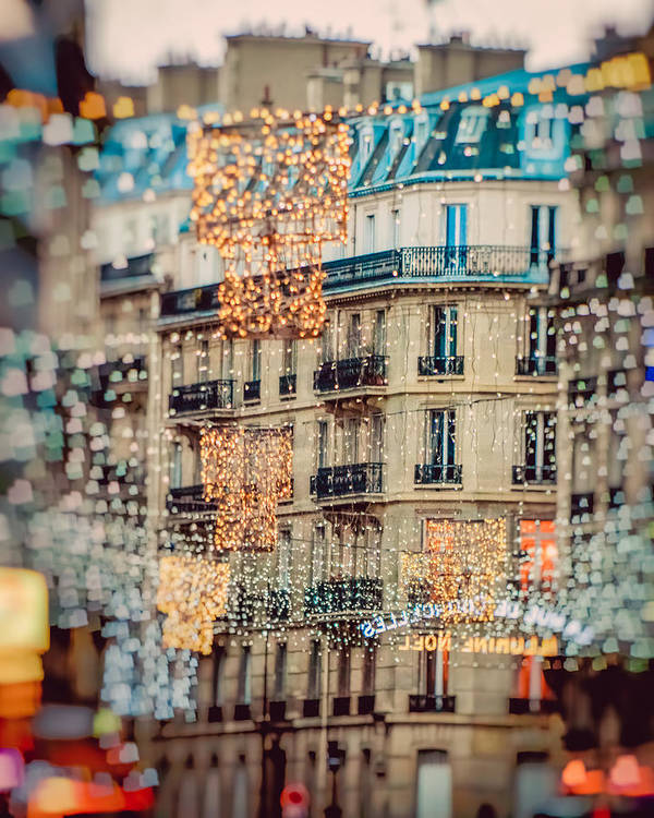 Christmas Art Print featuring the photograph Christmas Lights Paris At Twilight by Lynn Langmade