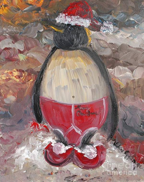 Penguin Art Print featuring the painting Christmas Penguin by Nadine Rippelmeyer