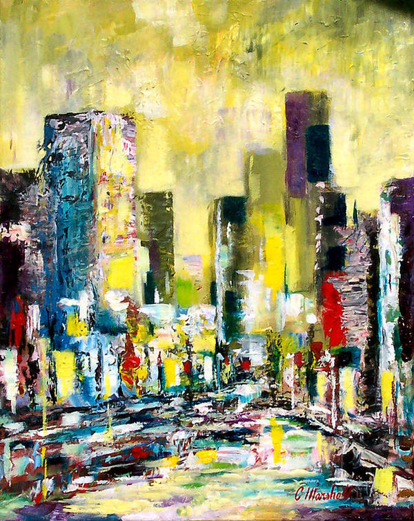 Abstract Art Print featuring the painting City Sunrise by Claude Marshall