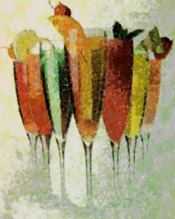 Abstract Art Print featuring the digital art Cocktail Impression by Florene Welebny