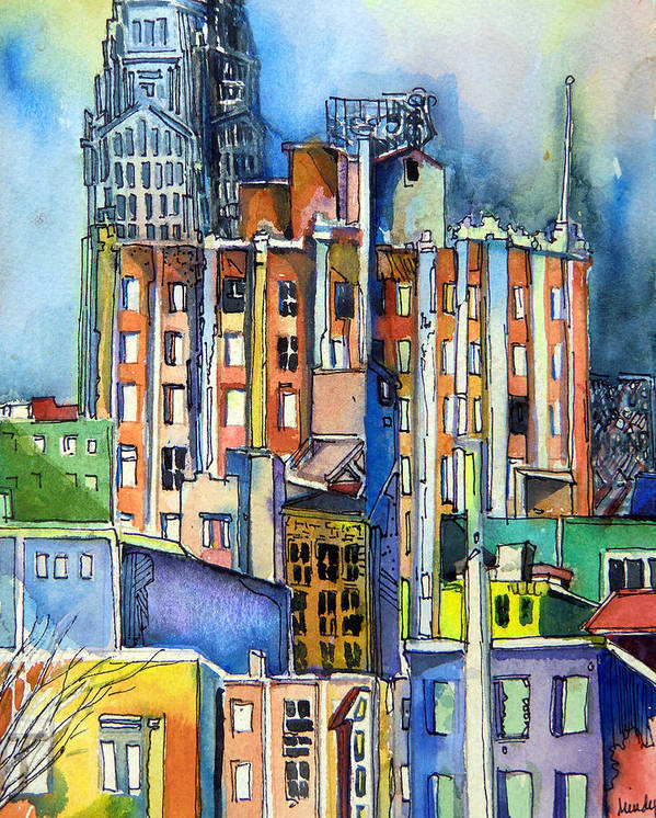 City Print featuring the painting Columbus Ohio City Lights by Mindy Newman
