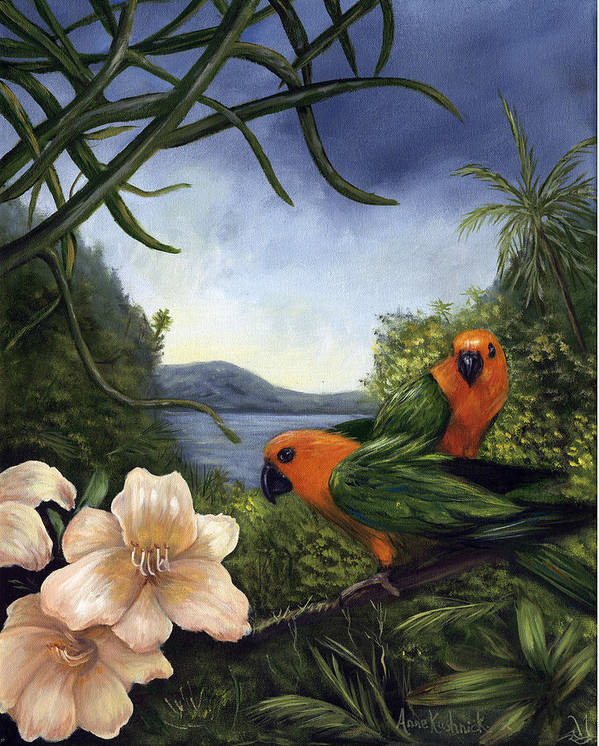 Landscape Art Print featuring the painting Conures by Anne Kushnick