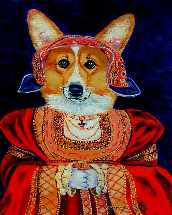 Pembroke Welsh Corgi Art Print featuring the painting Corgi Queen by Lyn Cook