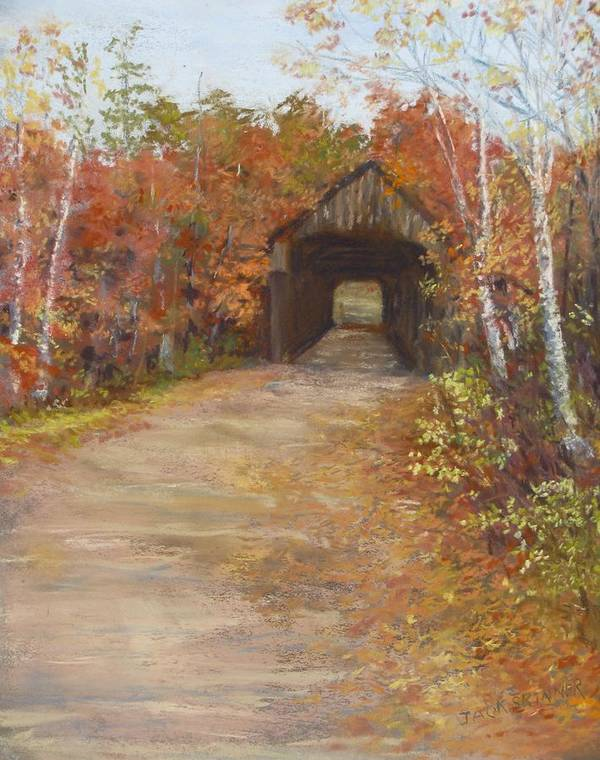 Covered Bridge Art Print featuring the painting Covered Bridge Southern Nh by Jack Skinner