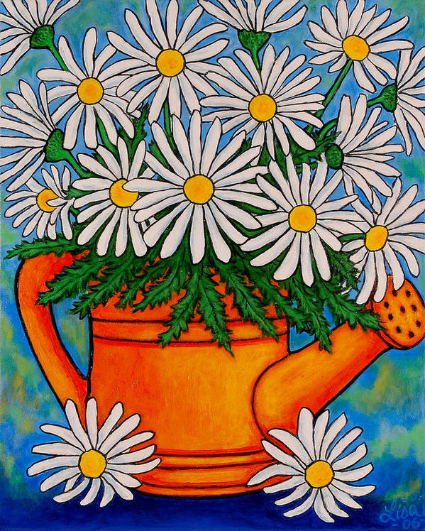Daisies Art Print featuring the painting Crazy For Daisies by Lisa Lorenz