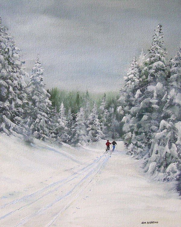Ski. Skiing Art Print featuring the painting Cross Country Skiers by Ken Ahlering
