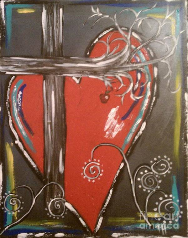 Heart Art Print featuring the painting Cross My H'art by Patti Spires Hamilton