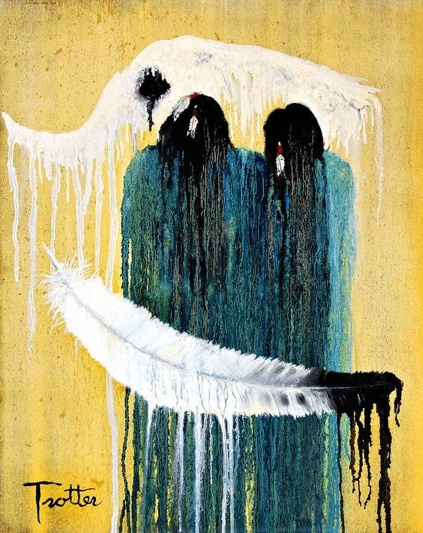 Native American Art Print featuring the painting Crying For A Vision by Patrick Trotter