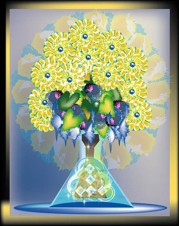 Flowers Art Print featuring the digital art Crystal Boquet by George Pasini