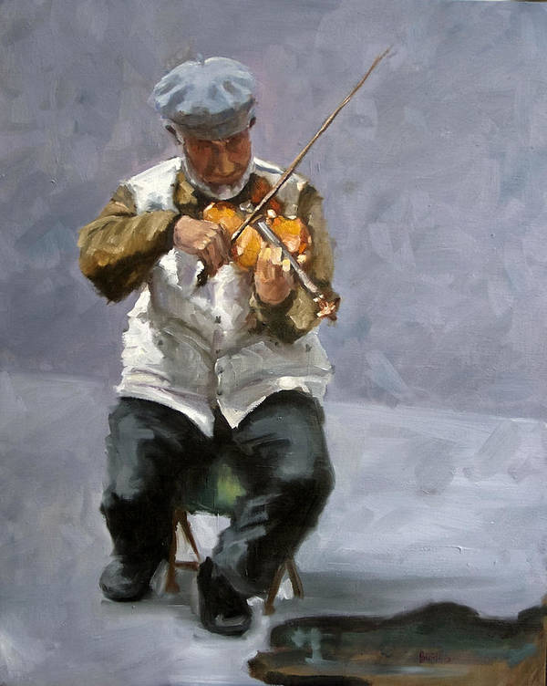 Figure Art Print featuring the painting Curbside Concerto by Kathy Busillo