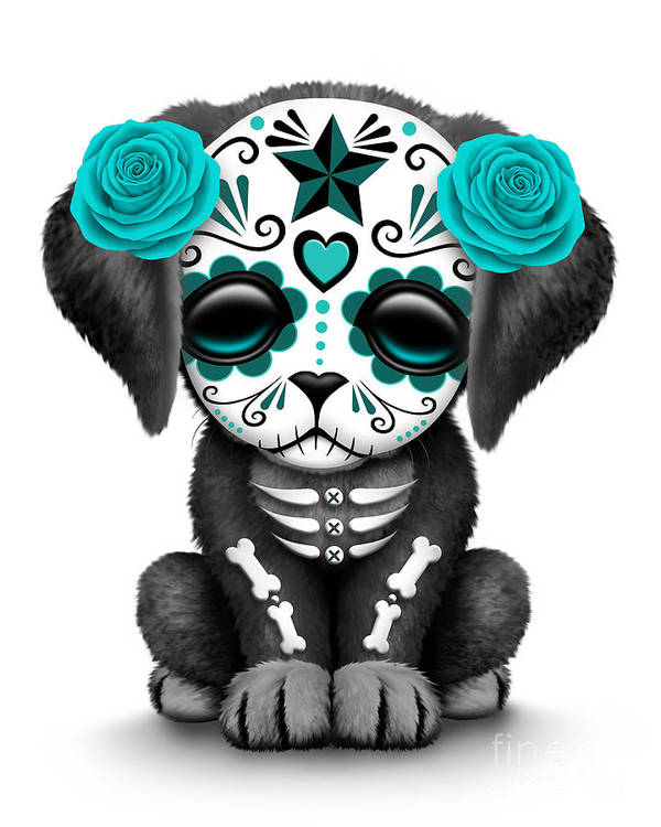 Cute Teal Blue Day Of The Dead Sugar Skull Dog Art Print