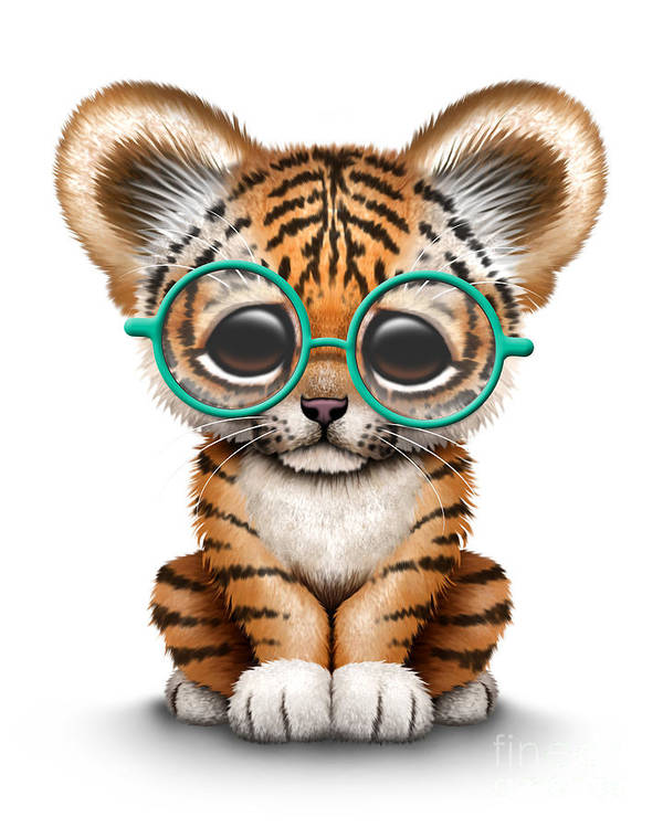 Cute tiger cub wearing glasses art print by jeff bartels tiger art print featuring the digital art cute tiger cub wearing glasses by jeff bartels thecheapjerseys Image collections