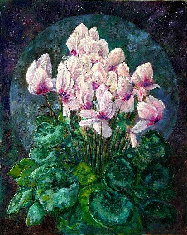 Cyclamen Flowers Art Print featuring the painting Cyclamen In Orbit by John Lautermilch
