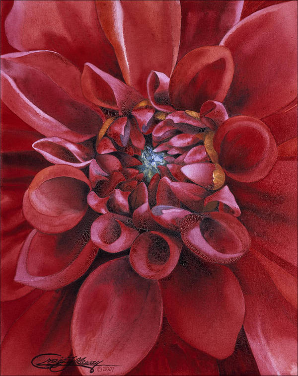 Flower Art Print featuring the painting Dahlia by Craig Gallaway