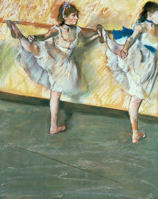 Danseuses A La Barre; Ballet; Impressionist; Stretching; Ballerina; Exercise; Warming Up; Step; Position; Dancer; Danseuse; Impressionism; Dancing; Tutu; Dance; Practice Art Print featuring the pastel Dancers At The Bar by Edgar Degas