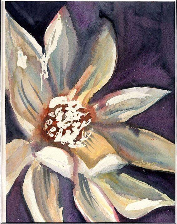 Dark Flower Art Print featuring the painting Dark Flower by Janet Doggett