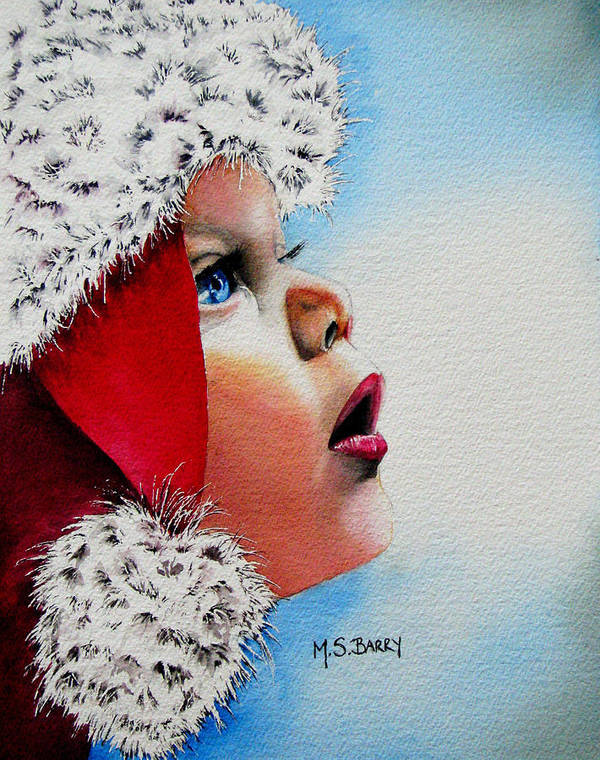 Child Art Print featuring the painting Dear Santa by Maria Barry