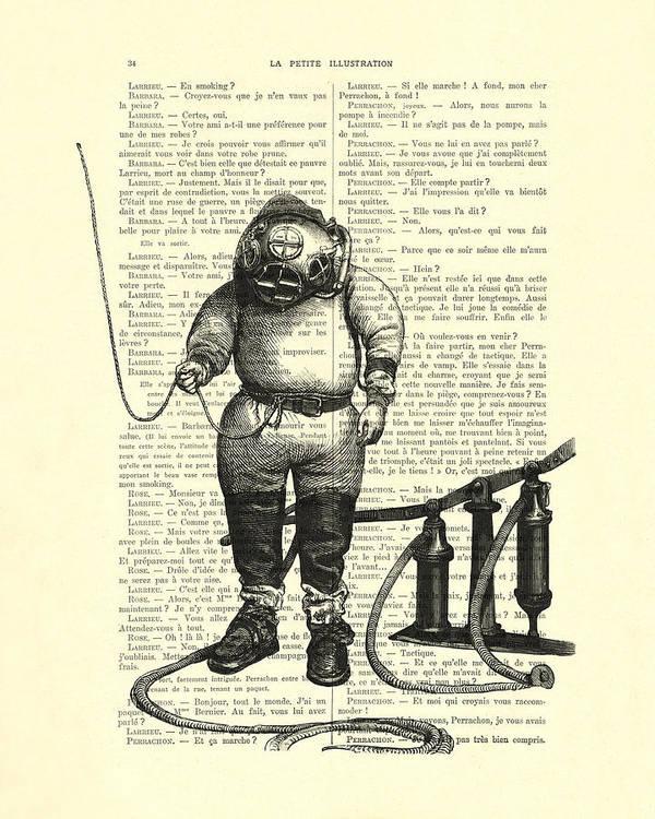 Deep Sea Diver Art Print featuring the digital art Deep Sea Diver by Madame Memento
