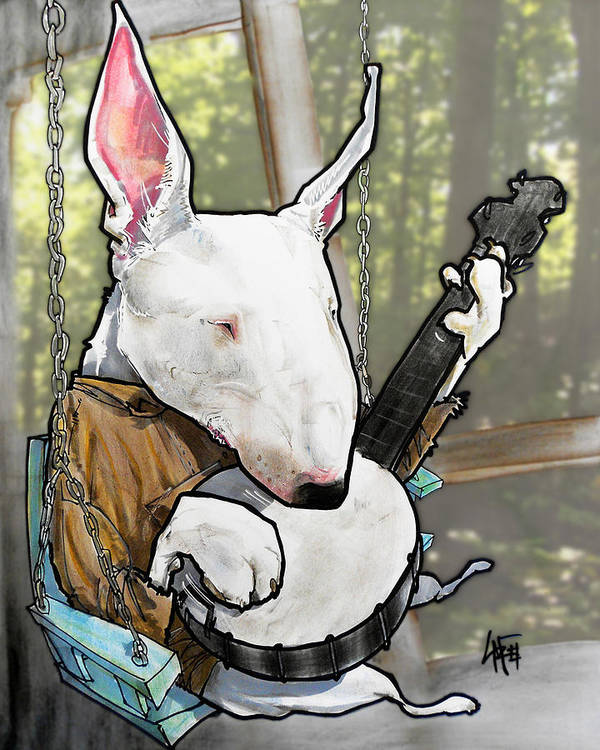 Deliverance Bull Terrier Caricature Art Print by John LaFree